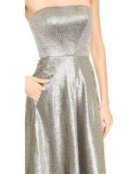 Cedric Charlier - Metallic Strapless Dress - Argent - Lyst