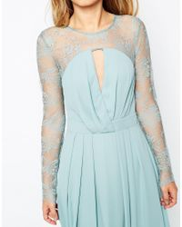 ASOS - Blue Kate Lace Maxi Dress With Long Sleeves - Navy - Lyst