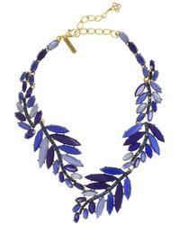 Oscar de la Renta | Blue Gold-plated Swarovski Crystal and Resin Leaf Necklace | Lyst