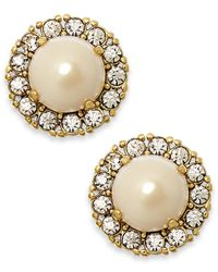 kate spade new york - Metallic Gold-tone Round Crystal Pearl Stud Earrings - Lyst