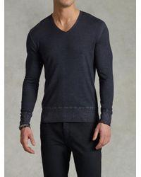John Varvatos - Blue Cold Water Dyed V-Neck Sweater for Men - Lyst