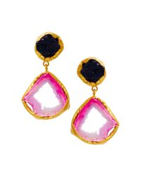 Kasturjewels - Purple 22kt Gold Plated Brass Rough Cut Semiprecious Stone Earrings - Lyst