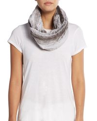 Modena - Gray Faux Fur Circle Scarf - Lyst