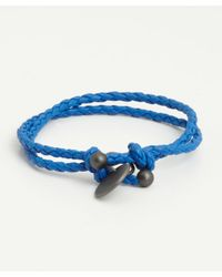 Bottega Veneta - Blue Braided Leather Charm Bracelet - Lyst