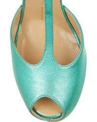 Giuseppe Zanotti - Green Monro Metallic Textured-Leather T-Bar Pumps - Lyst