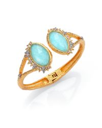 Alexis Bittar | Blue Elements Gilded Muse Amazonite & Crystal Fancy-Cut Open Cuff Bracelet | Lyst