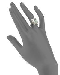 Saks Fifth Avenue - Green Amethyst Diamond 14k White Gold Ring - Lyst
