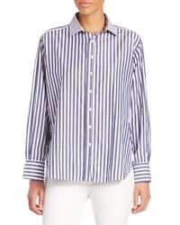 Rag & Bone - Blue Striped Cotton Boyfriend Shirt - Lyst