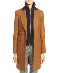 Veronica Beard - Natural 'chesterfield' Wool Blend Coat With Removable Knit Dickey - Lyst