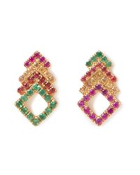 Khai Khai - Multicolor Diamond Stacked Studs - Lyst