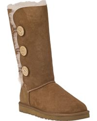 UGG | Brown Bailey Button Triplet Boot Chestnut Suede | Lyst