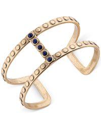 Lucky Brand - Metallic Gold-tone Blue Stone Open Cuff Bracelet - Lyst
