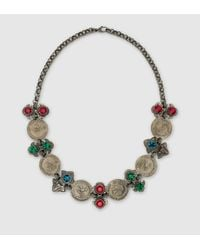 Gucci | Gray Necklace With Coins And Crystals | Lyst