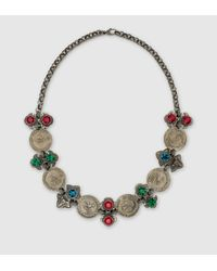 Gucci | Multicolor Necklace With Coins And Crystals | Lyst