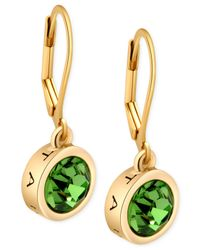 T Tahari | Gold-Tone Green Crystal Signature Drop Earrings | Lyst