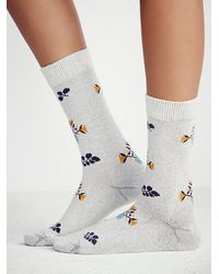 Free People | Natural Little River Sock Mill Womens Vintage Floral Crew Sock | Lyst
