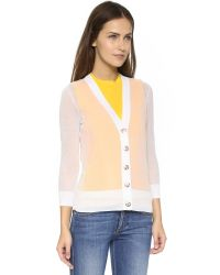 Tory Burch - Shrunken Simone Cardigan - White - Lyst