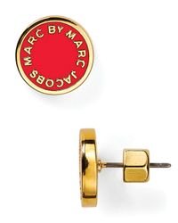 Marc By Marc Jacobs - Red Enamel Logo Disc Stud Earrings - Lyst