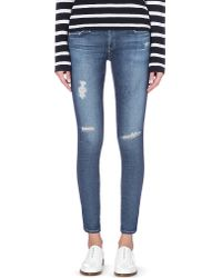 AG Jeans - Blue Skinny Mid-rise Cropped Jeans - Lyst