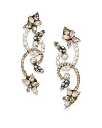 Erickson Beamon | Metallic Swan Lake Crystal & Faux Pearl Drop Earrings | Lyst