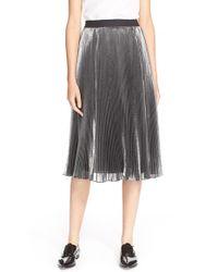 26f435868 Lyst - Rebecca Taylor Metallic Pleat Midi Skirt in Metallic