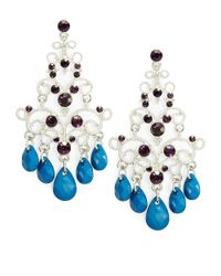 Catherine Stein | Blue Scroll Chandelier Earrings | Lyst