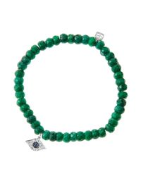 Sydney Evan - Green 6Mm Faceted Emerald Beaded Bracelet With 14K White Gold/Diamond Small Evil Eye Charm (Made To Order) - Lyst