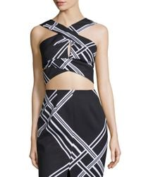 Keepsake - Black Tainted Romance Wrap-front Crop Top - Lyst