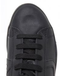 Armani Jeans | Black Leather Logo Trainers for Men | Lyst