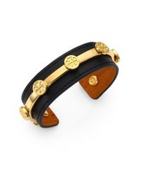Tory Burch | Black Leather Logo Cuff Bracelet | Lyst