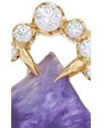 Jordan Alexander | Metallic Mo Exclusive: One Of A Kind 18k Gold Charoite And Pearl Slice Bracelet | Lyst