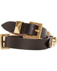 Alexander McQueen - Black Leather Double_wrap Bracelet - Lyst