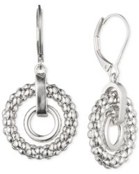 Anne Klein - Metallic Double Circle Drop Earrings - Lyst