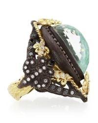 Armenta Metallic Old World Pear Green Turquoise Doublet Ring