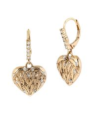 Betsey Johnson | Metallic Etched Heart Drop Earrings | Lyst