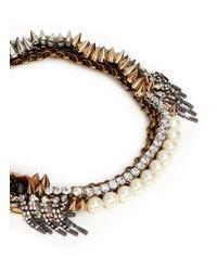 Venna | Metallic Crystal Pearl Spike Collar Necklace | Lyst
