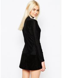 Monki - Black High Neck Ribbed Top - Lyst