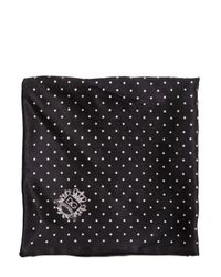Dolce & Gabbana - Black Polka Dots Silk Pocket Square for Men - Lyst