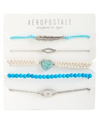 Aéropostale | Blue Feather Eye Bracelet 5-pack | Lyst