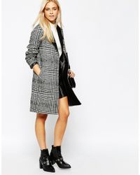 Oasis   Gray Asis Check Coat   Lyst
