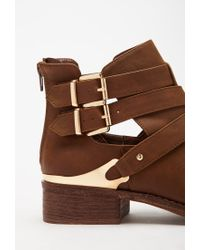 Forever 21 | Brown Buckled Cutout Faux Leather Booties | Lyst