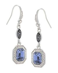 Carolee | Metallic Silvertone Blue Crystal Drop Earrings | Lyst
