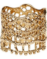 Aurelie Bidermann | Metallic Gold Laser Cut Vintage Lace Ring | Lyst