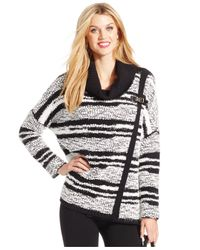 Calvin Klein | Black Cowl-neck Striped Sweater | Lyst