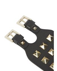 Valentino | Rockstud Black Leather Cuff | Lyst