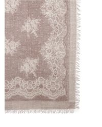 Franco Ferrari - Pink Floral Lace Print Wool-cashmere Scarf - Lyst