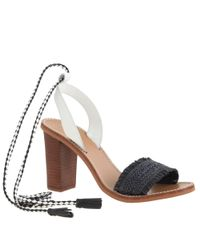 J.Crew | Black Raffia Ankle-tie High-heel Sandals | Lyst