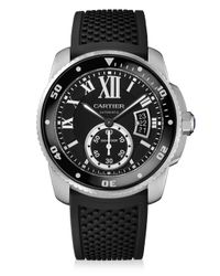 Cartier - Metallic Calibre De Diver Stainless Steel & Rubber Strap Watch - Lyst