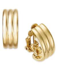 Lauren by Ralph Lauren - Metallic Gold-Tone Ribbed Hoop Clip-On Earrings - Lyst