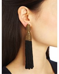 Oscar de la Renta - Blue Long Silk Tassel Earrings - Lyst